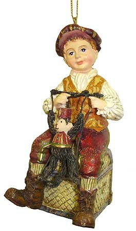 Victorian Vintage Boy With Monkey Puppet Christmas Ornament