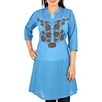 ARCLINES Women's Silk Cotton Regular Fit Kurti(cc12132315_xxxxl,xxxxl,blue)