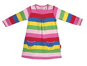 Toby Tiger Baby Girl's Organic Long Sleeve Baby Girl'sy Stripe Dress Multicolored 1 - 2 Years
