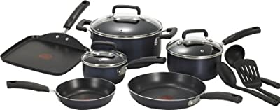 T-fal C109SC74 Signature Nonstick Expert Thermo-Spot Heat Indicator Cookware Set, 12-Piece, Blue