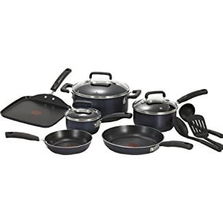 T-fal C111SC74 Signature Nonstick 12-Piece Cookware Set, Black