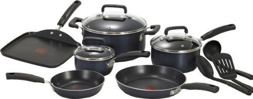 T-fal C530SC Signature Nonstick Expert Thermo-Spot Heat Indicator Dishwasher Safe Cookware Set, 12-Piece, Black (Pots And Pans 12 Piece compare prices)