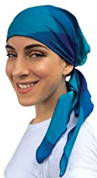 Pre Tied Fitted Bandana Head Scarf Tichel Elastic Back (Waters of Venice)