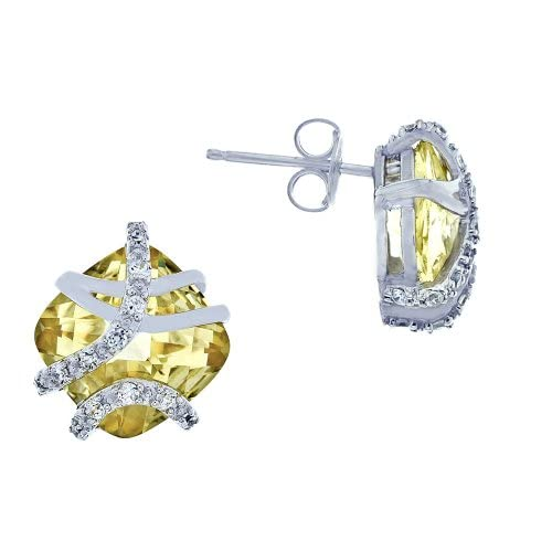 Platinum Plated Sterling Silver Cushion Cut Canary Yellow Cubic Zirconia Earrings