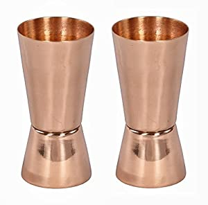 Set of 2 Copper Shot Glasses - 100% Pure Copper Jiggers by Copper Mugs