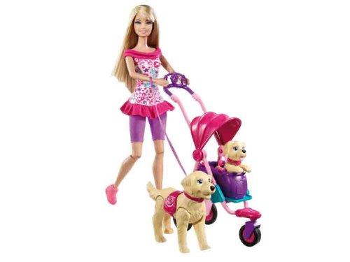 Mattel T7197 – Barbie Hundebaby-Ausflug, 1 Puppe, 2 Hunde, Wagen und Tragetasche jetzt kaufen