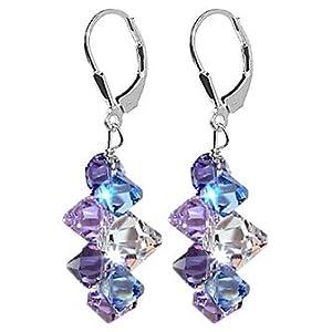 SCER009 - Lavender Blue And Clear Swarovski Crystal .925 Silver Lever back 1.5