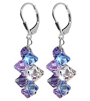 "SCER009 Lavender Blue And Clear Swarovski Crystal .925 Silver Lever back 1.5"" Long Dangle Earrings"