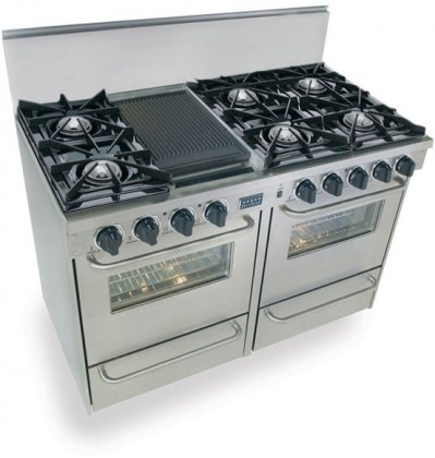"""48"""" Pro-Style Gas Range With 6 Open Burners Vari-Flame Simmer On Front Burners 2.92 Cu. Ft. Manual Clean Ovens And Double Sided Grill/Griddle Stainless"""