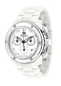 Glam Rock Unisex Quartz Watch With White Dial Analogue Display And Ceramic Bracelet 0.96.2549