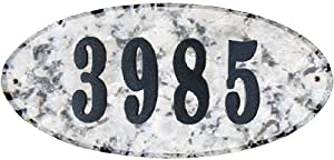 Qualarc ROC-4701WG-PN Rockport Oval Address Plaque in White Granite Natural Stone Color with 4-Inch Polymer Numbers