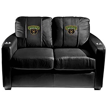 XZipit College Silver Loveseat with Baylor Bears Logo Panel - Black