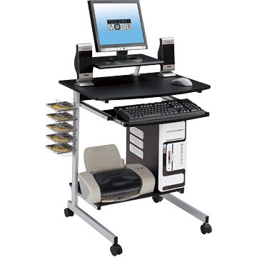 Compact Computer Desk Cart(Graphite Color)