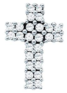 Pricegems 14K White Gold Ladies Round Brilliant Diamond Cross Pendant (1/3 cttw, H-I Color, I1/I2 Clarity)