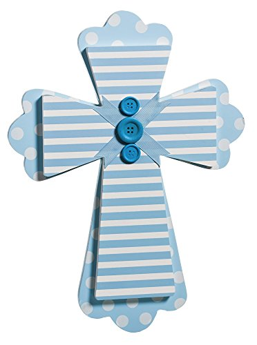 Blue Stripes and Dots Wood Wall Cross