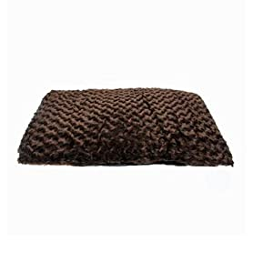Slumber Pet Polyester Swirl Plush Dog Bed Cushion, 40-Inch, Chocolate