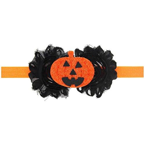 Headwear, DDLBiz® Fête de Halloween Enfants Filles Bandeaux élastiques en Tissu Fleur de Citrouille Décor Cheuveux Accessoires (E)