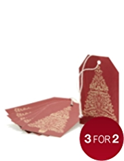 6 Ruby Red & Gold Trees Christmas Gift Tags
