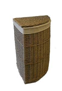 Grey Wicker Corner Laundry Basket Kitchen