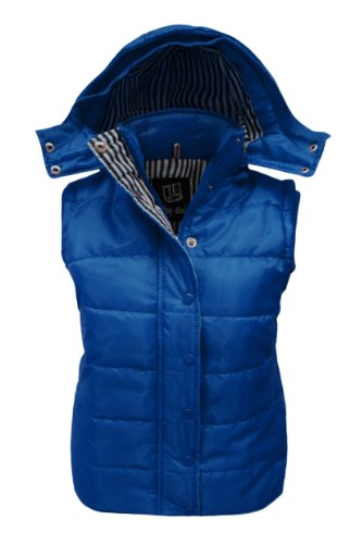 CEXICOUTURE LADIES SLEEVELESS HOODED QUILTED GILET WOMENS BODYWARMER JACKET ROYAL BLUE SIZE 8