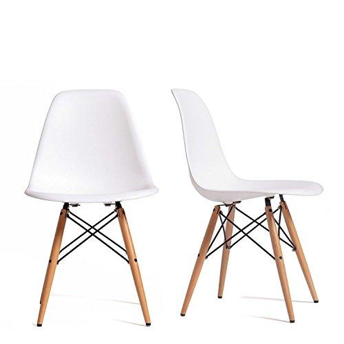 Set 2 Sedie mod. DSW bianca in polipropilene e gambe in legno di faggio