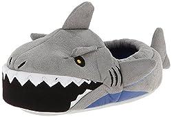 Stride Rite Boys Light-Up Mouth Shark Slipper, Grey, 7/8