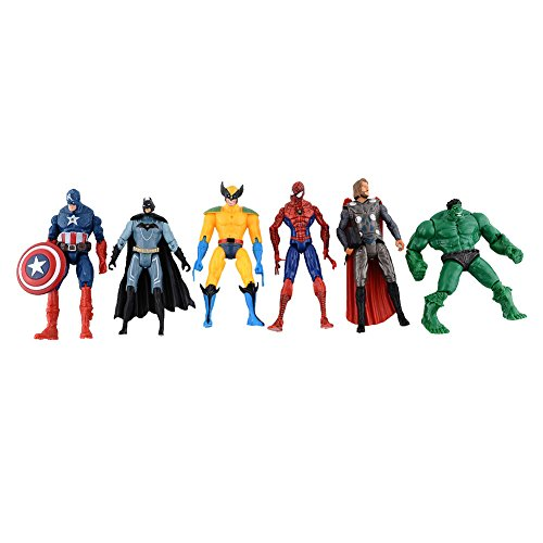 6pcs Marvel The Avengers Super Hero Captain Batman Figure Action Kids Toy (Thor Action Figure 6 Inch compare prices)