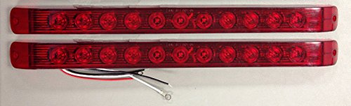 """2 New Red Led Stop Tail Turn Light Slim 17""""S Long Trailer Truck Rv Tail Lights"""