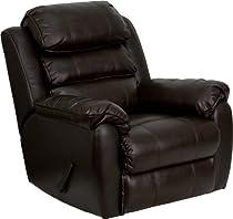 Hot Sale Flash Furniture MEN-DSC01037-BRN-GG Plush Brown Leather Rocker Recliner