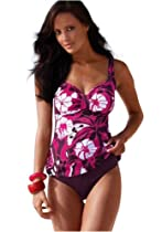 Push Up Tankini, two pieces (VBUSAO-f2707) Bordeaux-Flower size 8 (M) Cup E