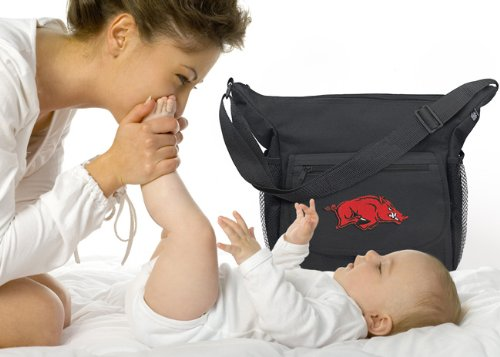 University of Arkansas Diaper Bag Official NCAA College Logo Deluxe Arkansas Razorbacks - Baby Bag - BEST Baby Shower GIFT for New Dad, Father or New Mom Mother GIFTS