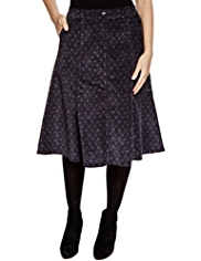 Per Una Cotton Rich Spotted Corduroy A-Line Skirt