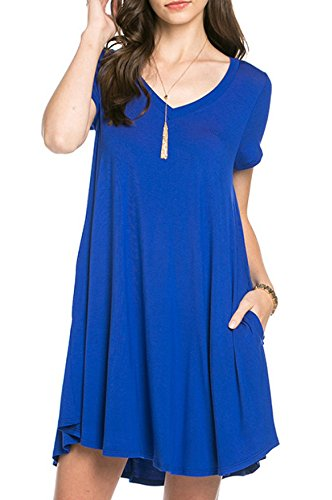 Bamboo Fiber Knit Short Sleeve V-Neck T-shirt Dress (Medium, Royal)