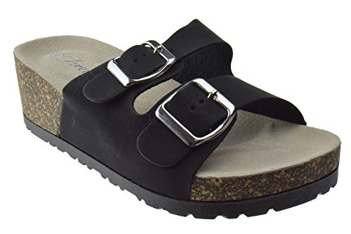 Melrose 88 Womens Comfort Wedge Buckle Sandals Black