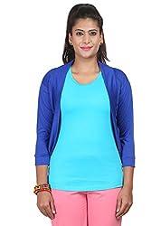 Yaari Spun Viscose Fashion Shrug (Large, Blue)