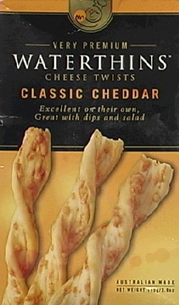 Waterthins Classic Cheddar Cheese Twists, 3.9-Ounce Boxes (Pack of 6) renew avalon organics vitamin c hydrating cleansing milk 8 5 ounce bottle pack of 6