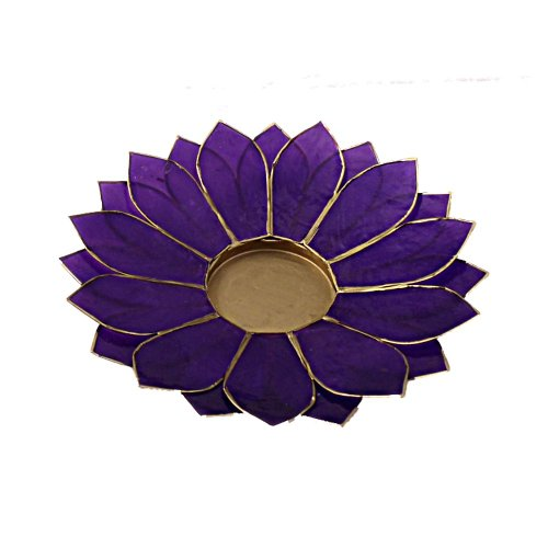 Lotus Candle Holder Capiz Shell Flat 2 Layer Decorating Accent Home Decor Gift Ideas (Purple)