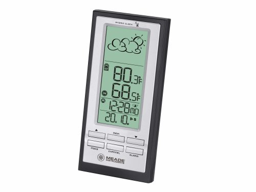 Meade Instruments TE388W Wireless Weather Forecaster with Atomic Clock, Black (Meade Indoor Outdoor Thermometer compare prices)