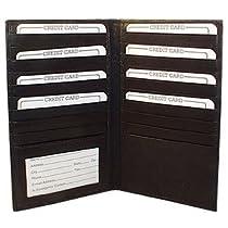 "MW1529CFBK Mens Womens Leather Credit Card Holder 7"" x 4"" Black Wallet"