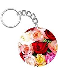Loveful Flowers| ShopTwiz WOODEN Circle Key Ring