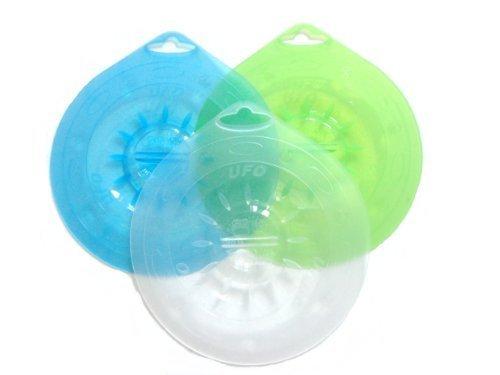 Silicone couvercle UFO SET 3 pièces 15,5 cm, vert transparent, bleu, blanc, de - 60 ° C à + 230 ° C résistant à la sécurité alimentaire