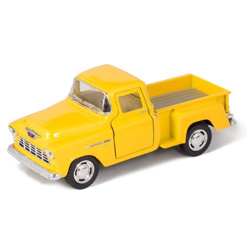 Yellow 1955 Chevy Stepside Pick-Up Die Cast Collectible Toy Truck
