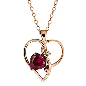 0.97 Ct Red Created Ruby White Sapphire Rose Gold Plated Sterling Silver Pendant