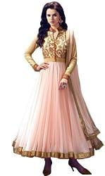 Jini Fashion Women's Net Anarkali Suit (NK-2000_Light Pink_Free Size)