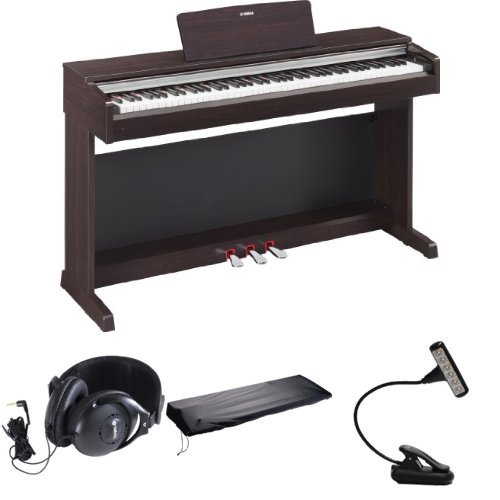 Yamaha Ydp142R Arius Series Traditional Console Digital Piano With Bench - Dark Rosewood + Mighty Bright Music Light, Yamaha Headphones And 88-Key Keyboard Dust Cover