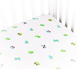 Soft & Breathable Baby Crib Sheets for Deep Sleep. Muslin Cotton Fitted Sheet For Boy & Girl. Cute & Fancy Print With 9\