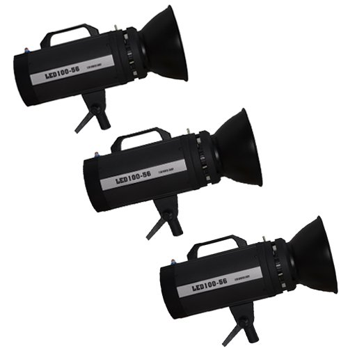 Iled New Led100Wa-56 Ultra High Power Daylight Studio 3-Light Kit With Wireless Remote Controller And Bowens S-Type Mount