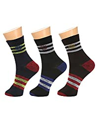 Gumber Pack of 3 Pairs of Multicoloured Striped Ankle Length Socks(GE_LONGSPORTS_DC_3PC_1)