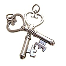 buy 25Th Anniversary - Two Vintage Antique Silver Alloy Keys - 25 Years / Anniversary / Good Luck / Wealth & Prosperity - Boxed & Gift Wrapped