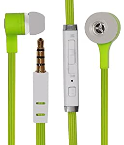 Premium In Ear Bud Handsfree Headset Earphones 3.5mm Jack with Mic Compatible For Micromax Canvas Knight A350-GREEN
